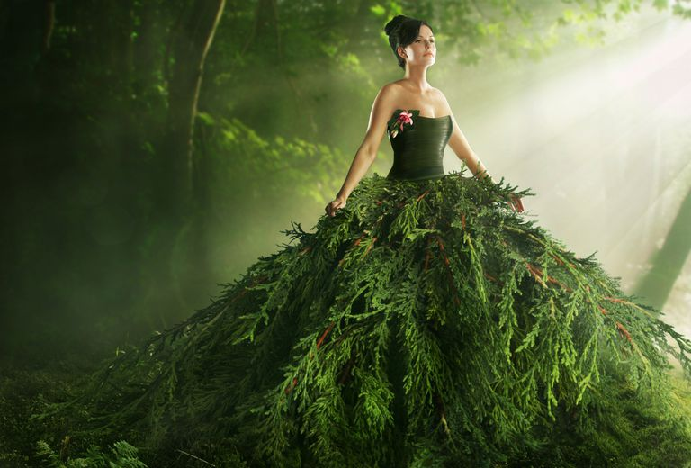 woman dressed in green forest