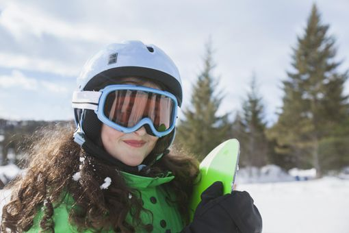 Portrait of girl skiiing in Montana