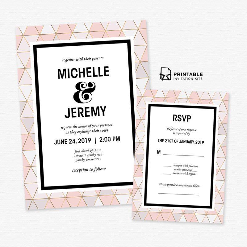 Geometric modern wedding invitations