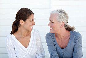 A mom and grandma talking together.