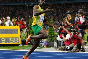 The clock tells the story as Usain Bolt breaks the 100-meter world record at the 2009 World Championships.