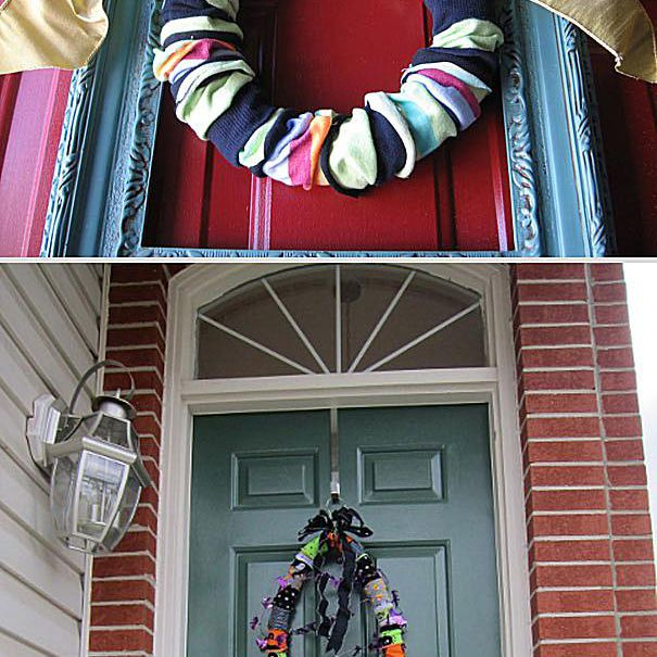 Comparison of a sock wreath and a failed attempt