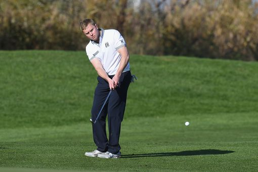 Golfer Martin O'Connor plays a chip shot during the Golfplan Insurance PGA Pro-Captain Challenge in Spain