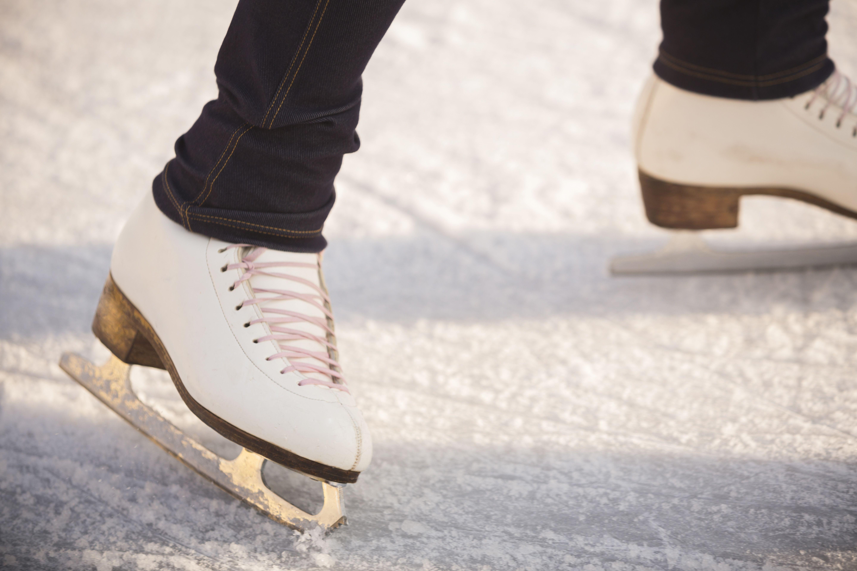 Close-up of woman ice skating