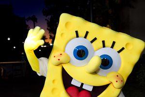 Person in Spongebob costume at Princess Grace Awards.