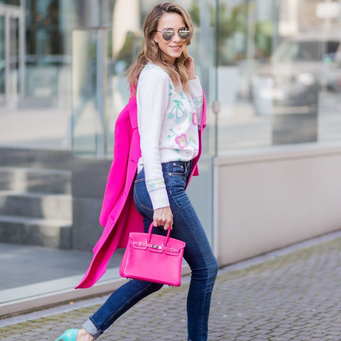 Street style jeans and high heel shoes