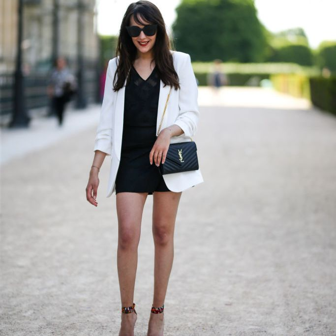 Little black dress and white blazer outfit for women