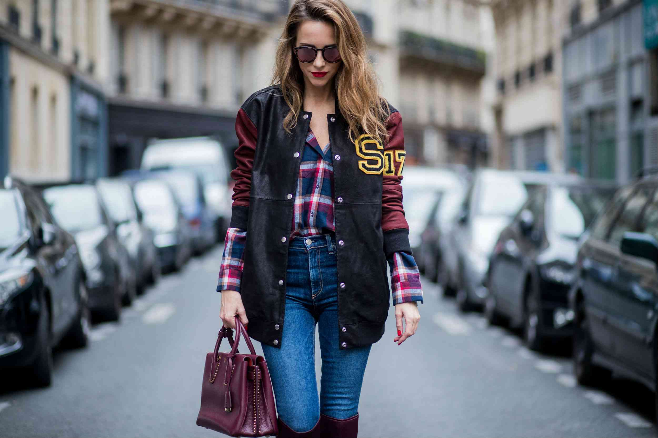 Street style plaid shirt and jeans
