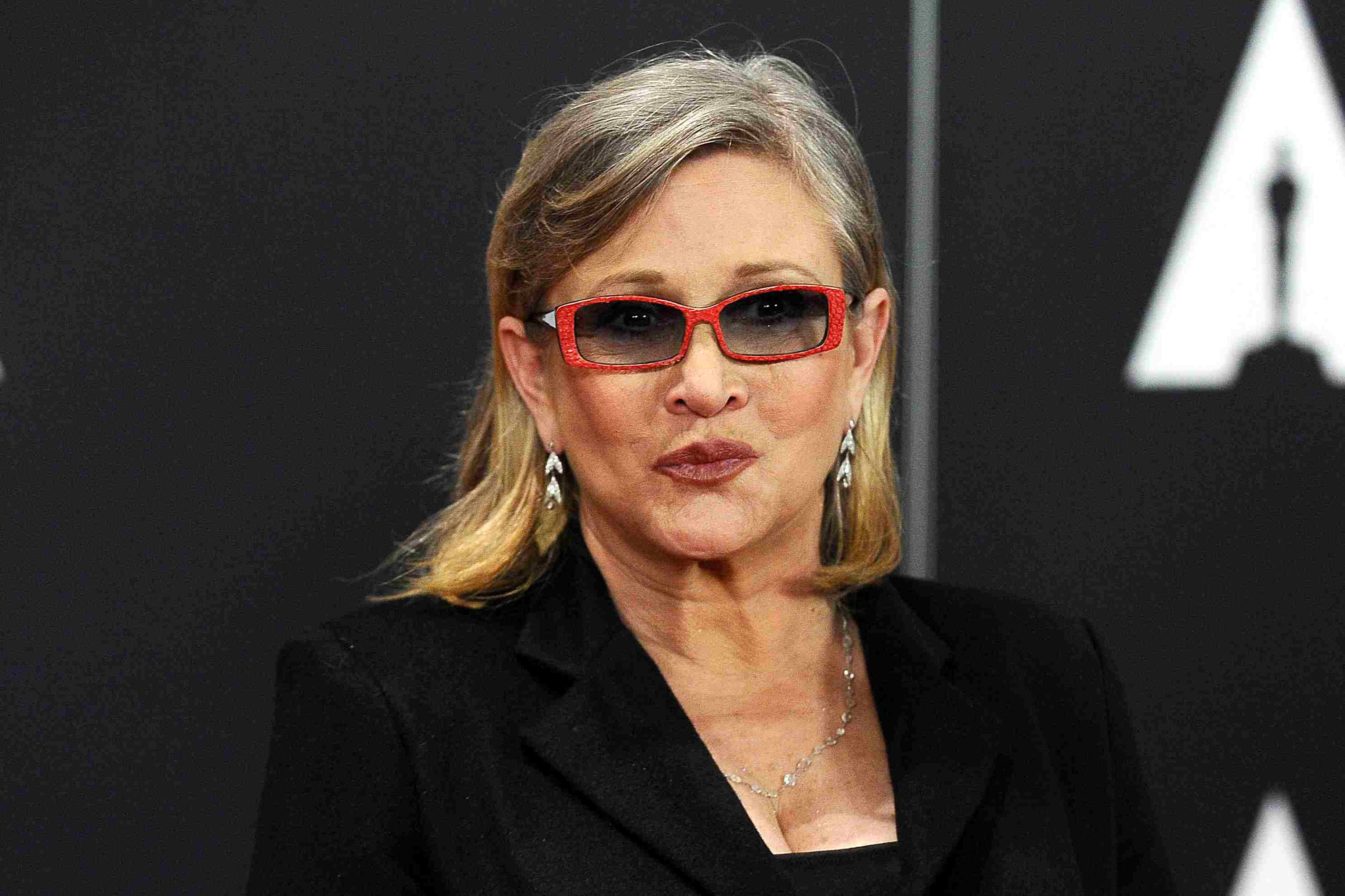 Carrie Fisher at a 2015 red carpet event in Hollywood