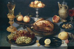 Still Life, fruit and other food, Peter Binoit (1590-1632 ca), painting on panel