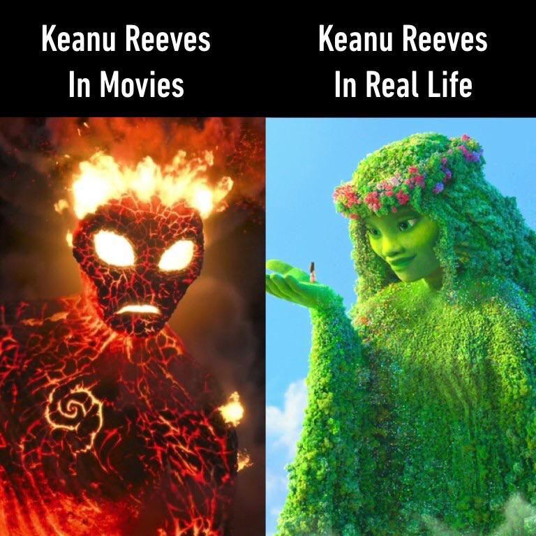 Keanu Reeves in movies versus real life Moana