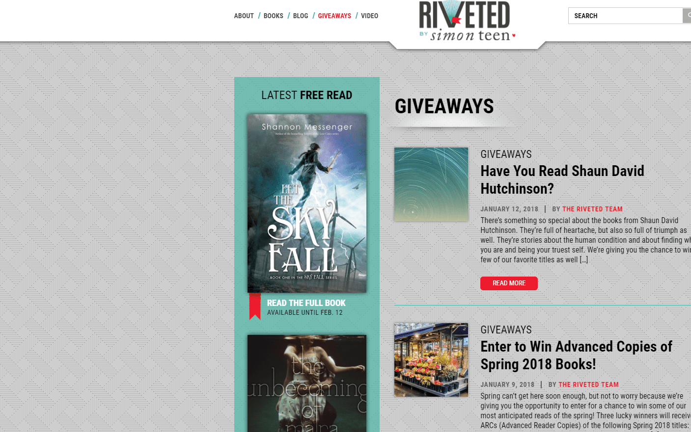 Screenshot of Riveted's Book Giveaways Page