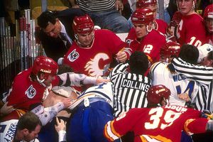 A hockey fight breaks out during a 1991 match between the Buffalo Sabres and the Calgary Flames