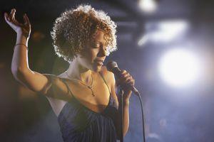 Jazz singer on stage, portrait
