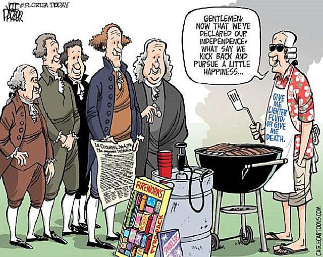A cartoon portraying the American Founding Fathers in a modern 4th of July scenario