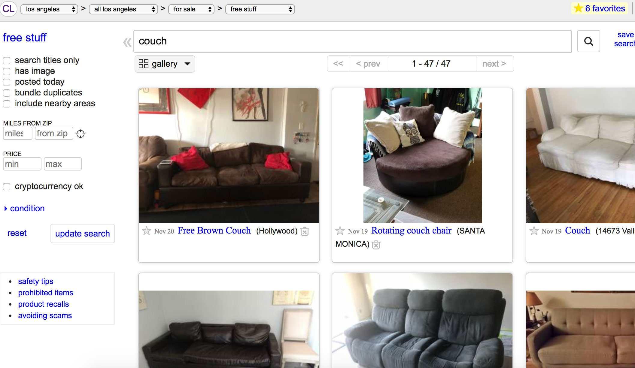 List of free items for sale on Craigslist