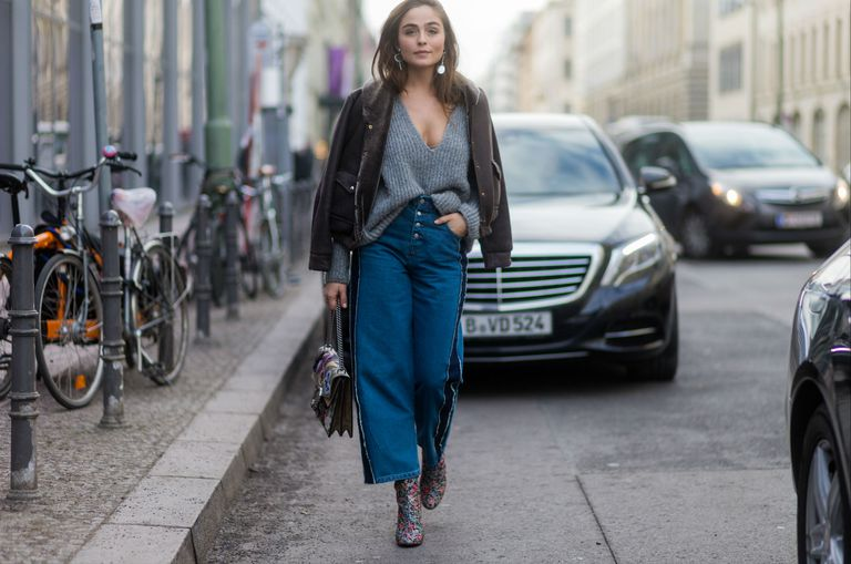 street style in denim culottes