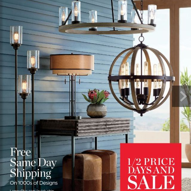 The cover of the Fall 2019 Lamps Plus catalog featuring lighting in a living room