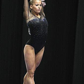 USA gymnast Alicia Sacramone competes on beam at the Visa Championships in 2007