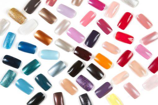 A rainbow of fake nails