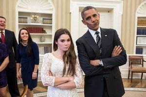 President Barack Obama jokingly mimics U.S. Olympic gymnast McKayla Maroney'