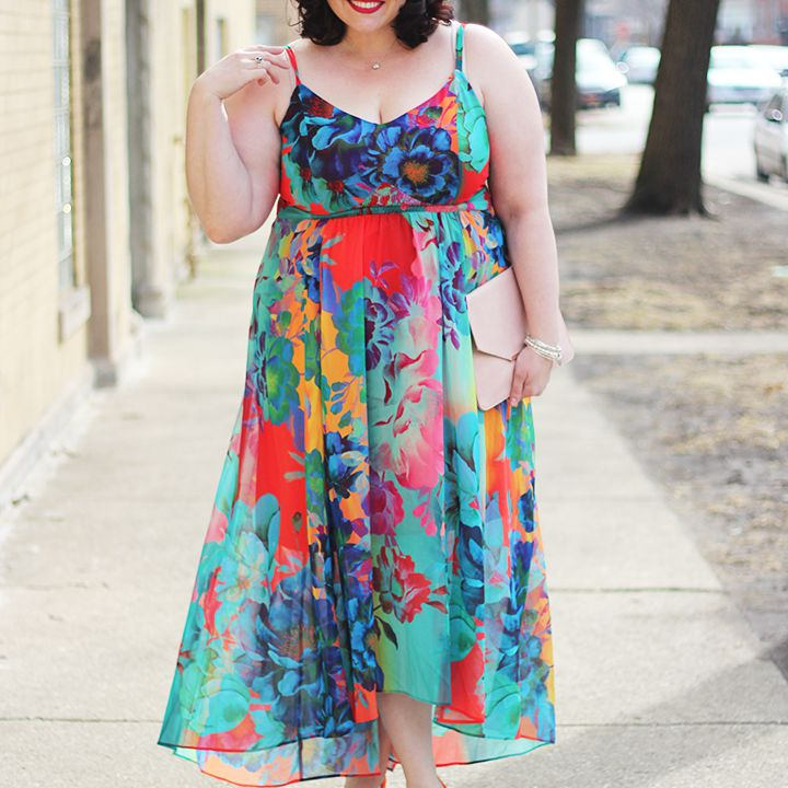 Woman in Bright Floral Dress
