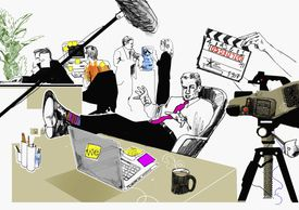 cartoon of a Business man filming a commercial