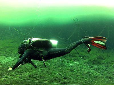 photo of a diver mid-frog kick