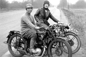 Two english women on Excelsior motorcycles in England, 1928