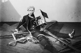 Silent screen comedian Buster Keaton in a scene in his 1929 film 'The Cameraman'