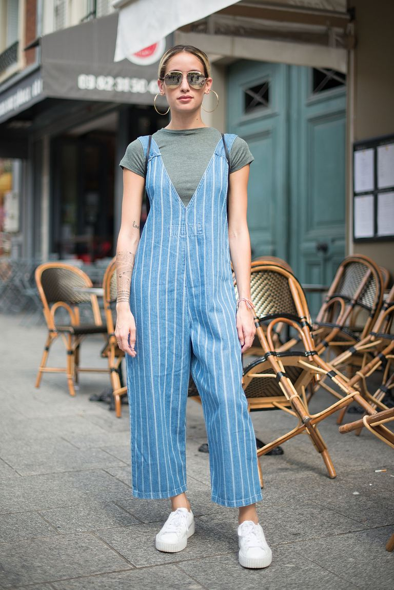 62a2b02e553 Street style photo denim overalls and Puma Fenty by Rihanna trainers