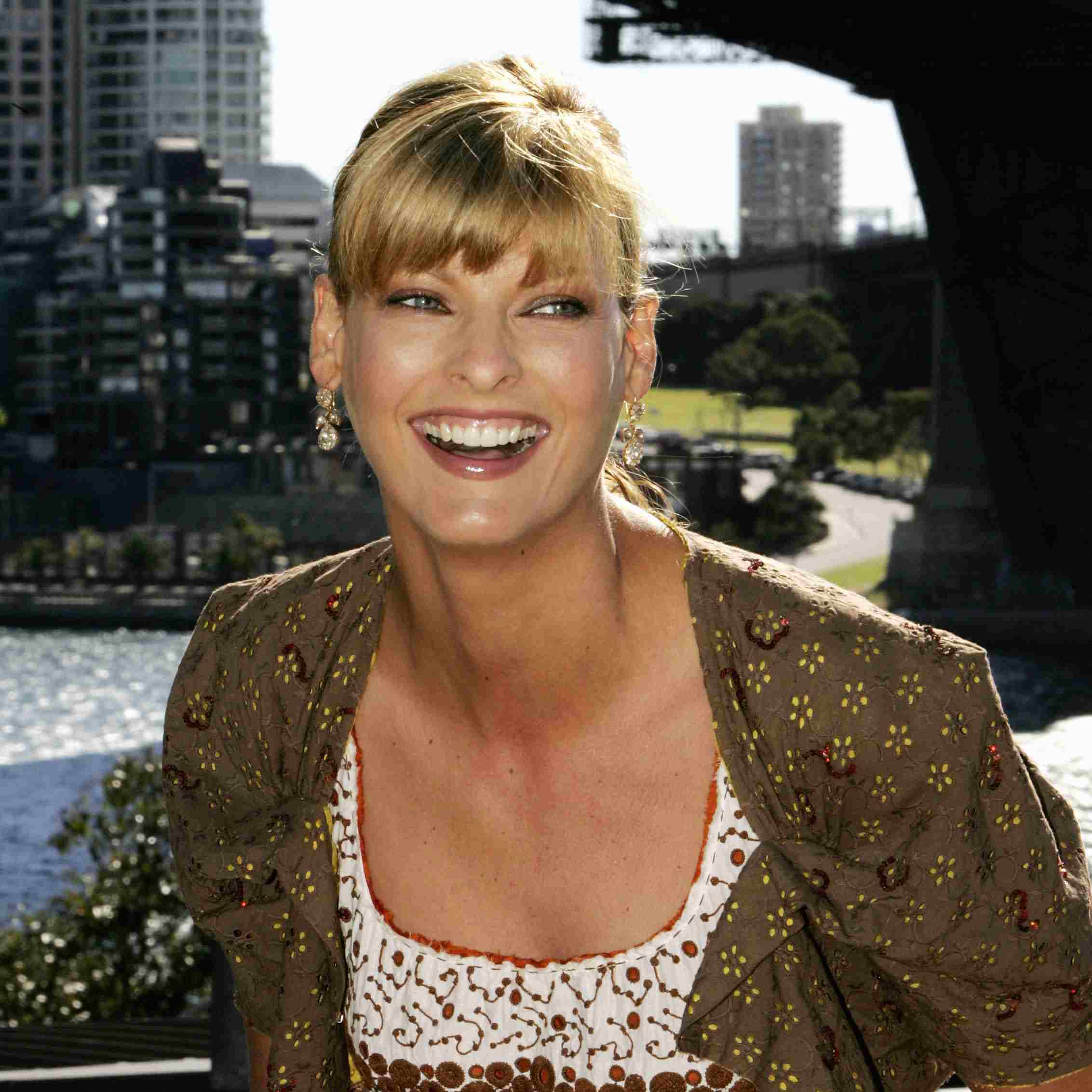 Supermodel Linda Evangelista at a press conference and photo call to welcome her as a special guest at the launch of David Jones Summer 2004 Collections at the Park Hyatt Hotel's Rooftop on August 9, 2004 in Sydney, Australia.