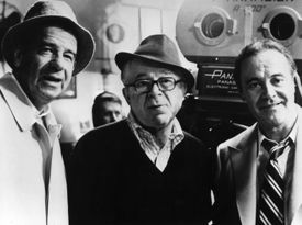 From left to right, Walter Matthau (1920 - 2000), film director Billy Wilder (1906 - 2002) and Jack Lemmon (1925 - 2001) at a rehearsal for their new film 'The Front Page