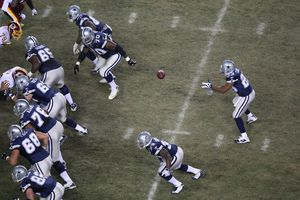 Elevated view of a football game played by the Dallas Cowboys