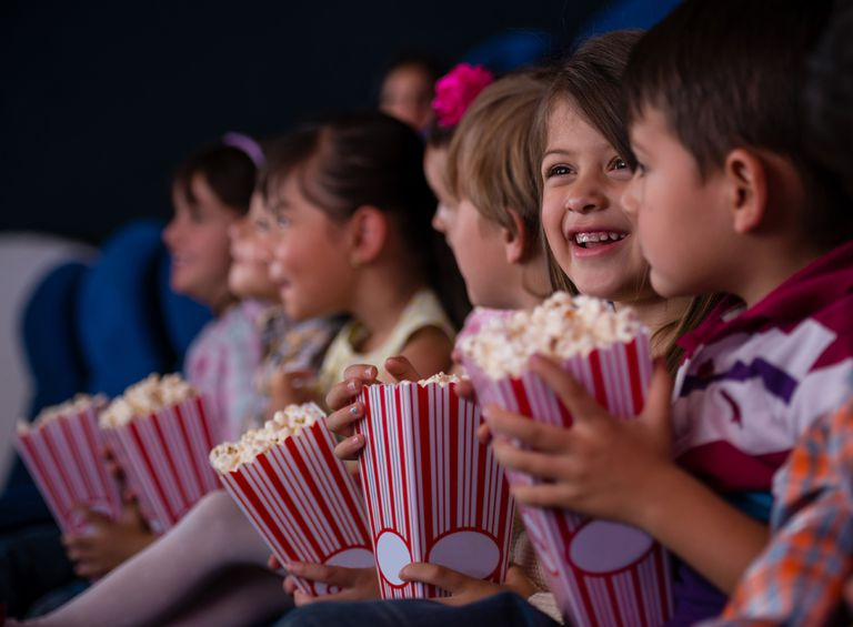 Kids at the movie theater.