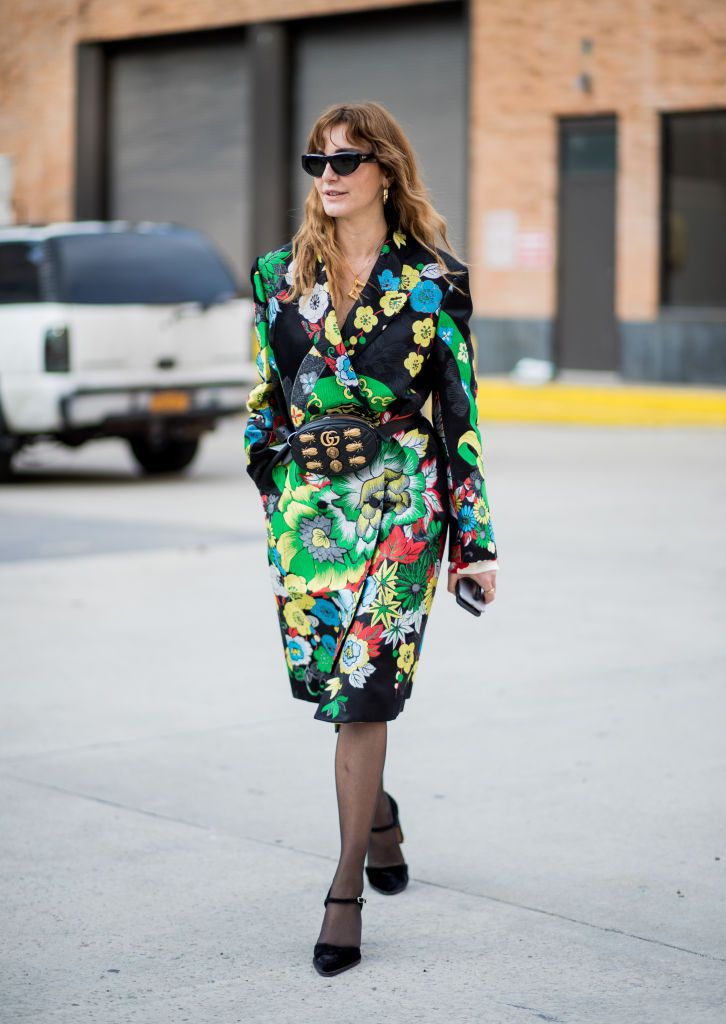 Street style woman floral coat