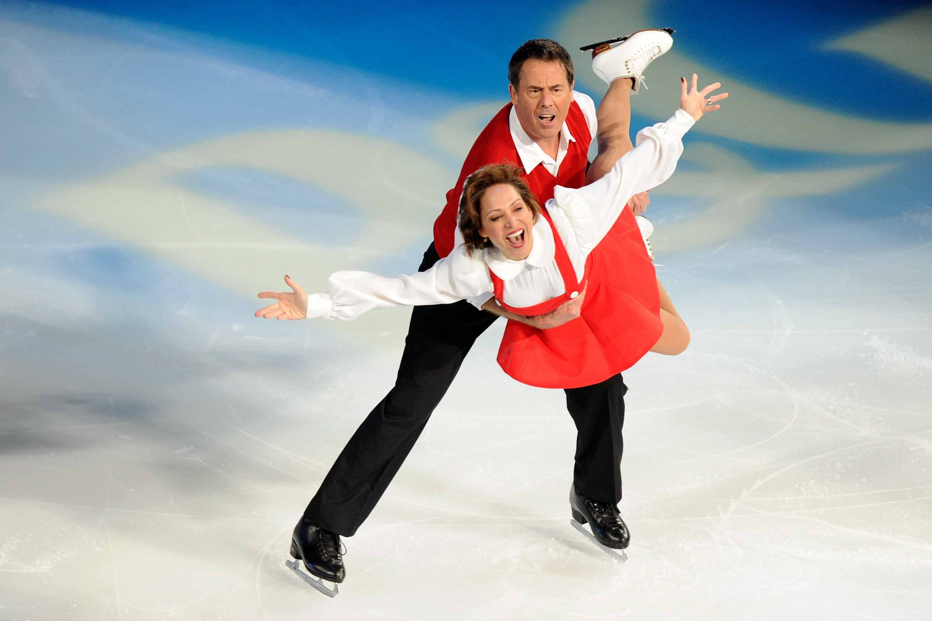 Kitty and Peter Carruthers skate together during the P&G & Wal-Mart 'Tribute to American Legends of the Ice'