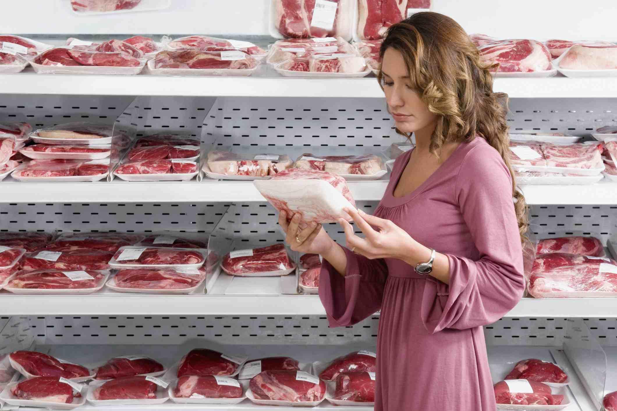 Woman Choosing Packaged Meat