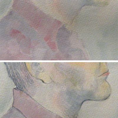 Overdrawing a watercolor painting