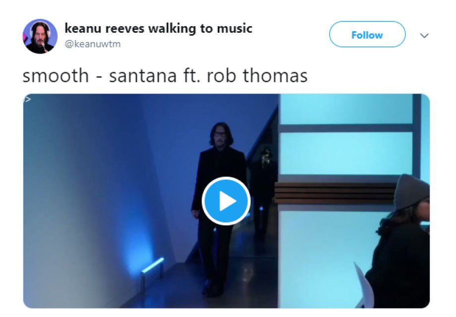 Keanu Reeves walking to music meme