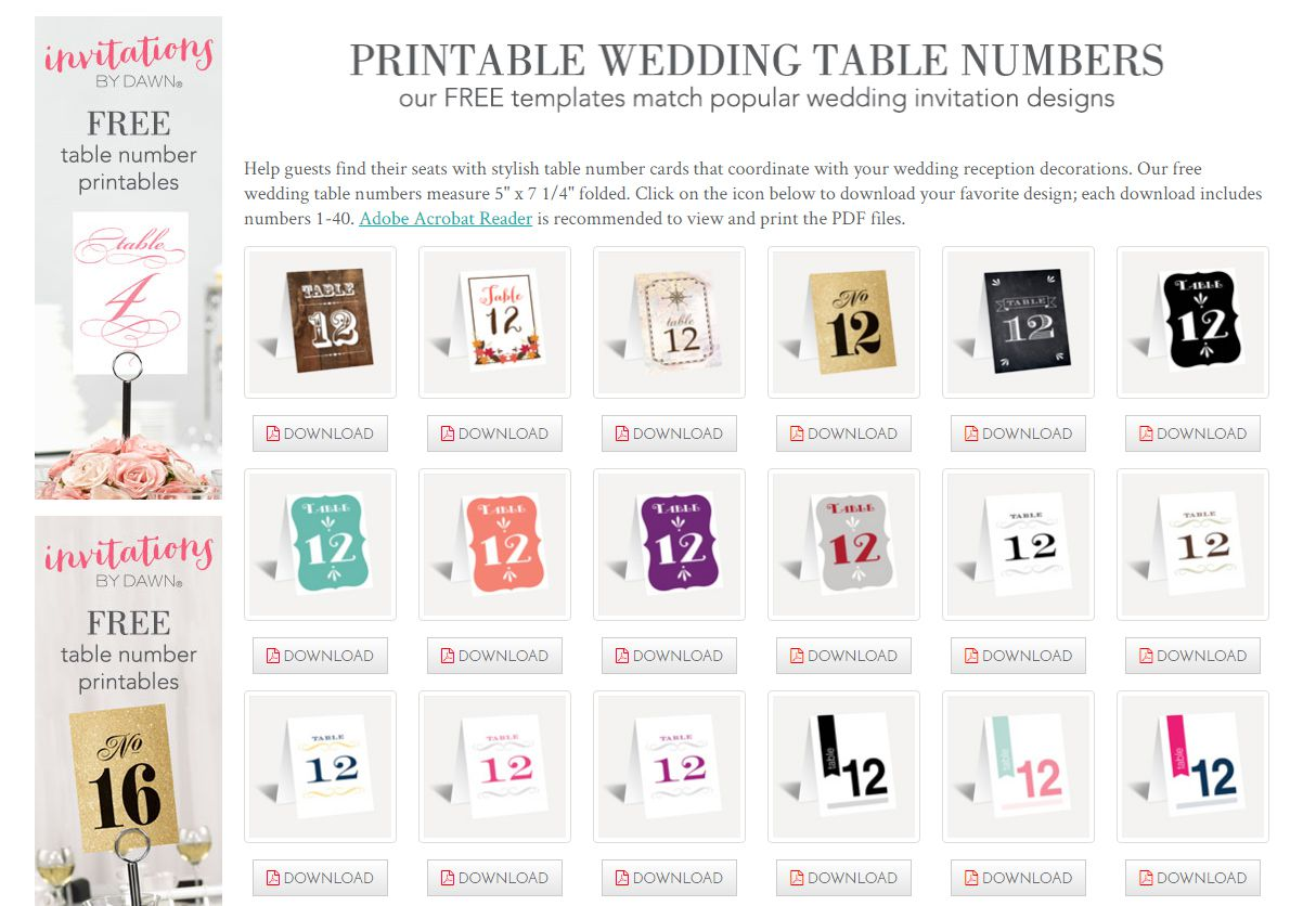 Some of the free wedding table numbers available at Invitations by Dawn