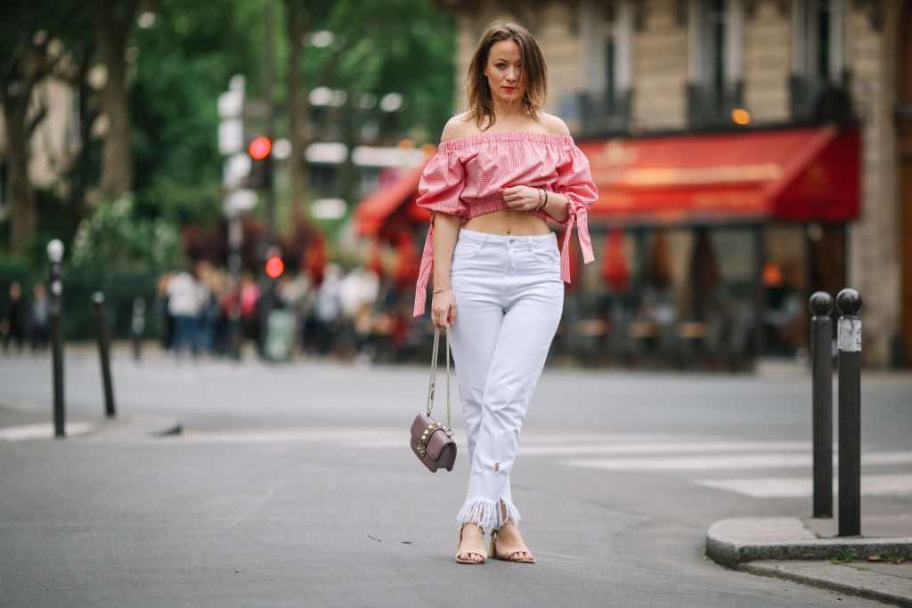 Street style outfit - white jeans and off the shoulder crop top