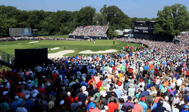 General view of PGA Championship fans during the tournament.