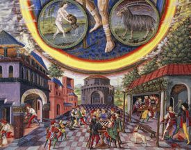 Saturn,ruler of the signs of Aquarius and Capricorn,miniature,Cristoforo de Predis (1440-before 1486) from the astrological book De Sphaera,latin script,folio 5,verse,parchment,ca 1470,Detail,Italy,15th century