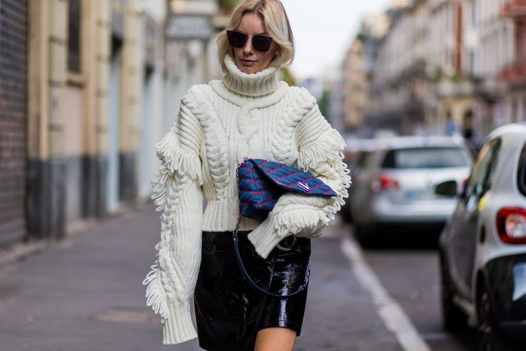 62e3a4d28c1 Pair a Chunky Turtleneck Sweater With a Mini Skirt