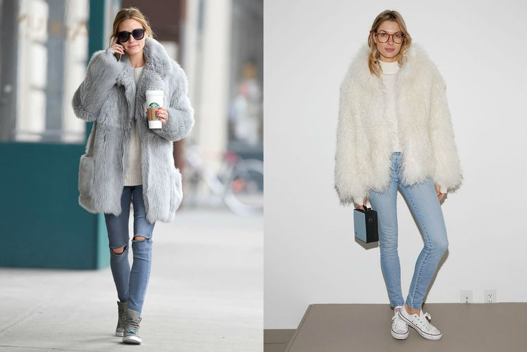 990aae5ec79 Wear a Faux Fur Coat Over Your Casual Basics