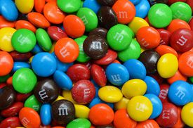 Colorful m&m candies