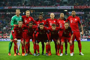 A team of 11 standing together on a soccer pitch