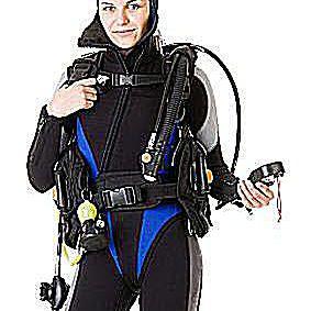 scuba diver wears a wetsuit against a white background.