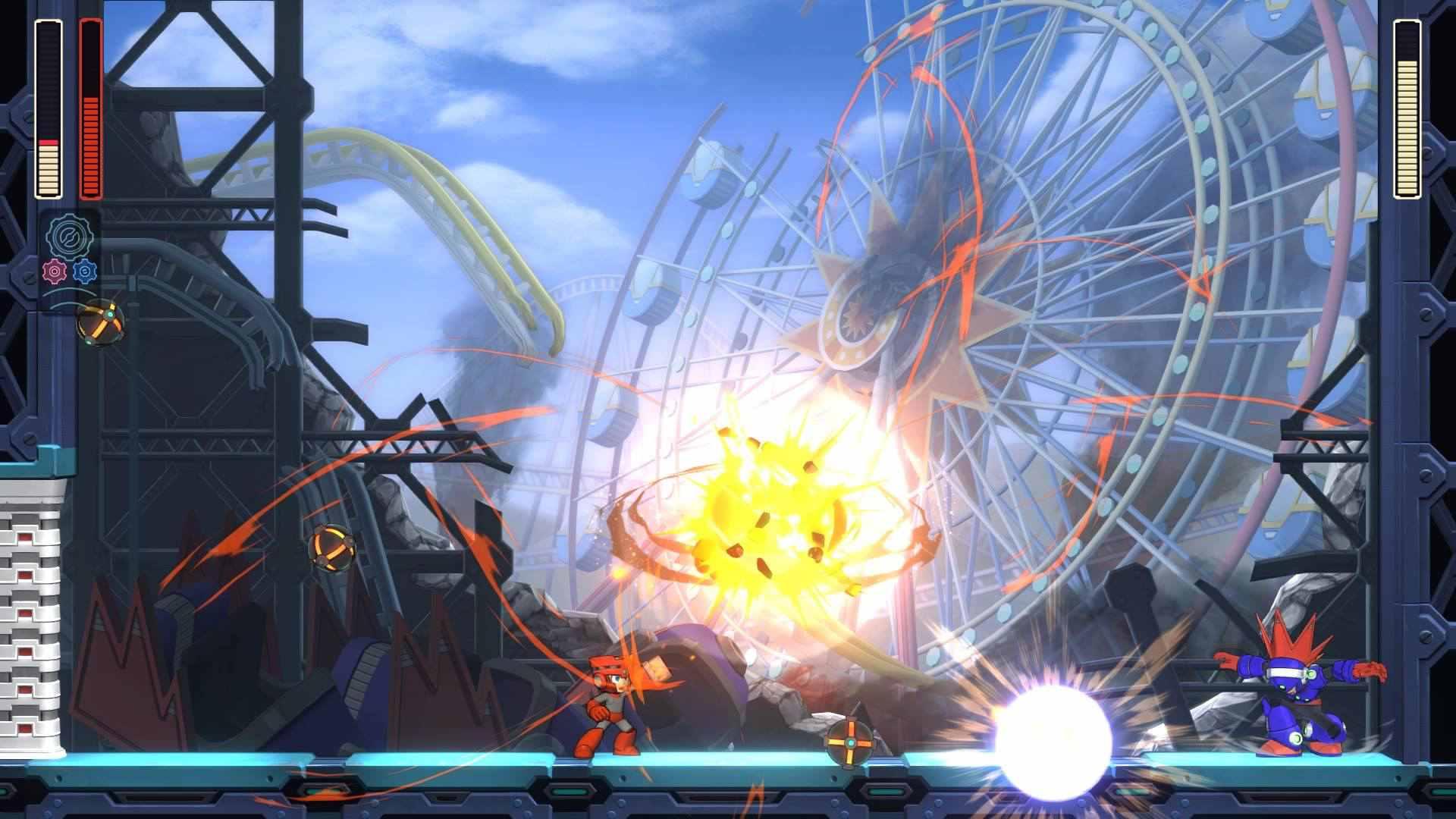 Mega Man attacks Blast Man in Mega Man 11